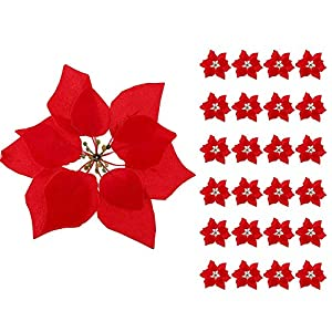 HMILYDYK Xmas Tree Ornaments 8 INCH Red Poinsettia Flowers Festival Decor Artificial Flowers, 24PCS 15