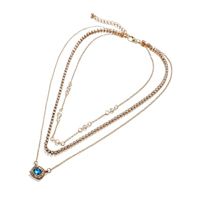 Amazon.com: Cadena de suéter de circonita azul con diamantes ...