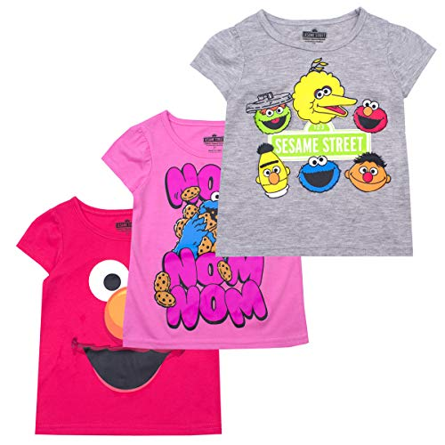 Sesame Street Girls' T-Shirt (Pack of 3) 2T RED -