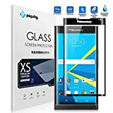 BlackBerry Priv Screen Protector [Tempered Glass] [Full Coverage] [Colored Edge], Popsky [3D Full Curved Edge] [No Bubble] Ultra Clear 9H Hardness Scratch Proof Protective Film (Black)