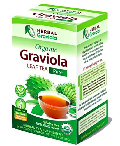 Graviola Leaf Tea - From Soursop Dried Leaves – Organic Certified non-gmo Kosher – Cell Support & Regeneration, Stress Relief, Calm Relaxation - Caffeine Free – 24/1g Tea Bags/Box - Herbal Goodness