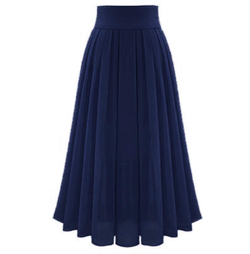 FarJing Women's Sexy Party Chiffon High Waist Lace-up Hip Ankle-Length Long Skirt(XL,Navy