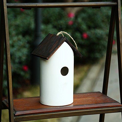 CEDAR HOME Hanging Bird House Outdoor Garden Patio Decorative Resin Pet Cottage White Ceramic Restful Birdhouse by CEDAR HOME (Image #1)