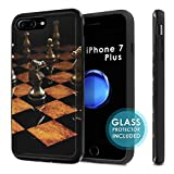 iPhone 7Plus / 8Plus [SlickCandy] Dual Layer Protection Shock Proof [Glass Protector] [Phone Case] - [Chess] for iPhone [7 Plus] [8 Plus]