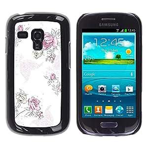 - Purple Floral Begonia Pink Rose/ Duro Snap en el tel??fono celular de la cubierta - Cao - For Samsung Galaxy S3 MINI 8190