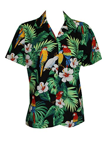 Made in Hawaii! Womens Parrot Hibiscus Hawaiian Luau Cruise Camp Shirt