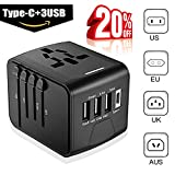 Universal Travel Adapter - Whzld International Travel Power Adapter W/High Speed 2.4A USB, 3.0A Type-C Wall Charger, European Adapter Travel Power Adapter Wall Charger for UK, EU, AU, Asia Covers 220+