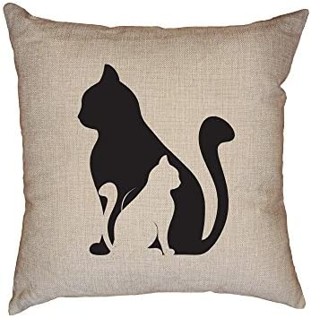 Hollywood Thread Unique Two Cat Black White Silhouette Cat Lover Decorative Linen Throw Cushion Pillow Case with Insert