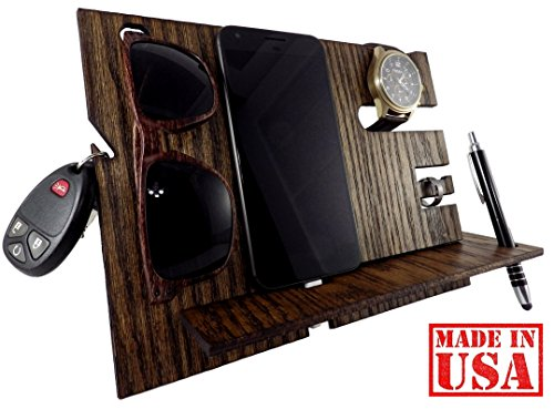 Wooden Docking Station and Personal Accessories Organizer (Dark (Cell Docking Station)