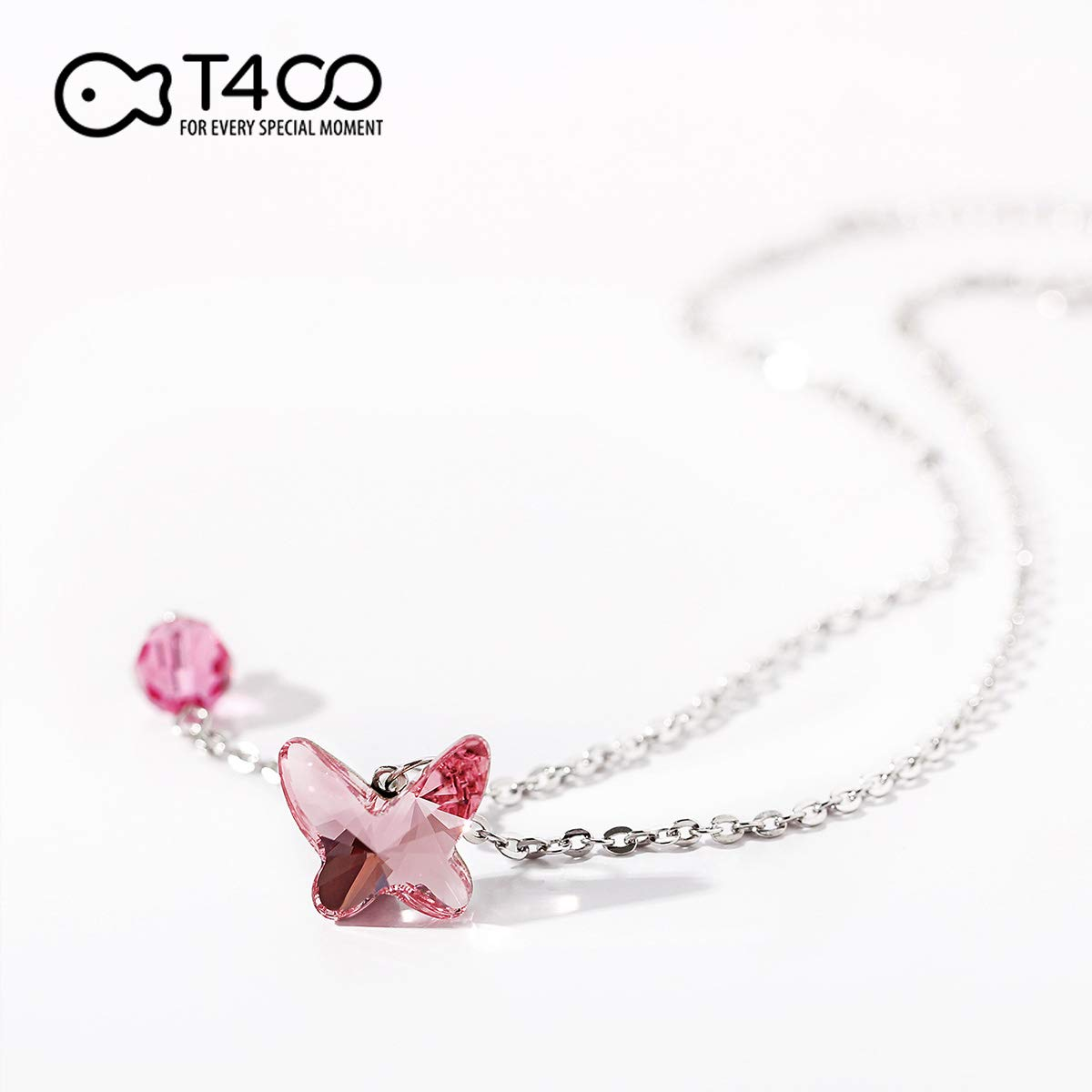 T400 925 Sterling Silver Blue Pink Butterfly Anklet Foot Chain Made with Swarovski Elements Crystal Gift for Girls Women