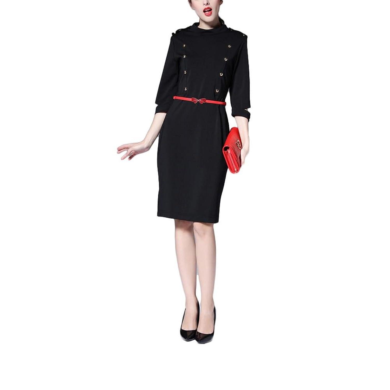 Berufskleid-Frauenkleidung halb-sleeved Kleid hohes Taillenkleid - Schwarzes