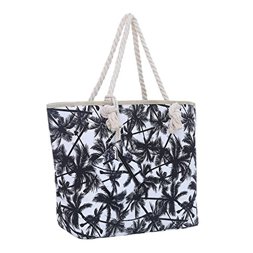 38 Tasche Große Blau Miami Florida 18 Strandtasche Cm X Shopper Rosa Palmen Schultertasche Reißverschluss Mit 58 45jARL