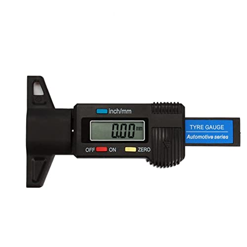 Pumpkin Digital Tyre Tread Depth Gauge Range at 0-25.4mm with Large LCD Display Inch/MM Adjustable Tread Depth Measuring Tool for Motorbike Car Van (Battery included)