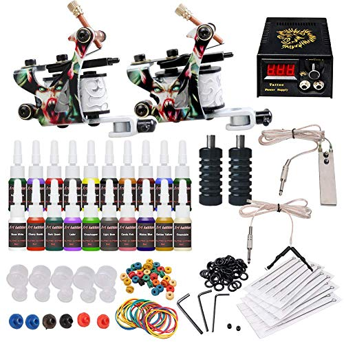 (Complete Tattoo Kit 2 Machine Tattoo Gun Power Supply Needles 20 Inks L3)