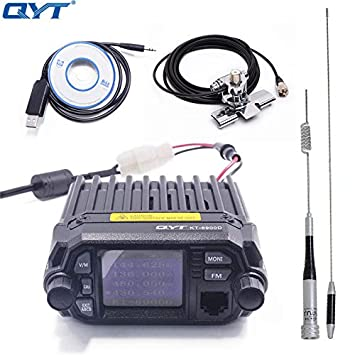 QYT KT-8900D Dual Band Quad Band 25W VHF UHF Display Large LCD Display Mobile Radio Programming Cable with CD Antenna Car Clip RB-400 5m Cable
