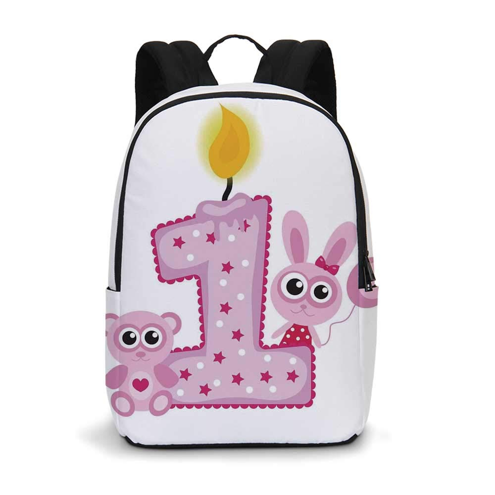 1st Birthday Decorations Modern simple Backpack,Girls Party Theme with First Candle Bunny and Bear Image for school,11.8''L x 5.5''W x 18.1''H