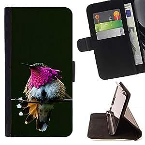 Ihec-Tech / Negro Flip PU Cuero Cover Case para Sony Xperia Z2 D6502 - Plumes de Bec Branche
