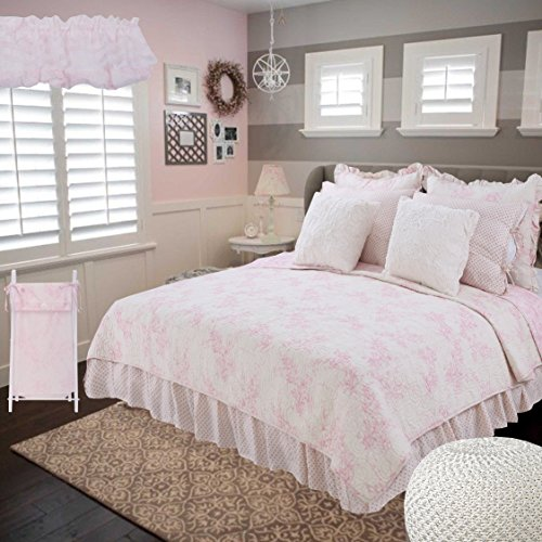 Cotton Tale Designs 100% Cotton Pink & white, Cream Angelic Floral Toile & Polka Dots with Soft Faux Fur Minky Heaven Sent Girl Twin 5 Piece Reversible Quilt Bedding Set - Girl