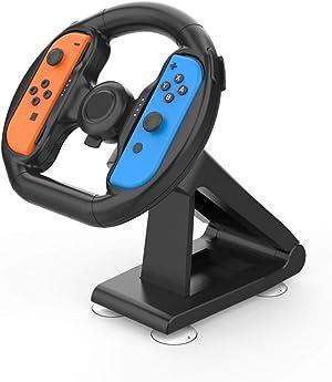Steering Wheel for Nintendo Switch - Joy Con Wheel for Mario Kart 8 Deluxe Large Size Black