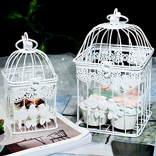 - LONGBLE 2Pcs White Metal Wedding Birdcages Gifts Card Holder Vintage Decorative Hanging Candle Latern Beautiful Wedding Reception Piece Bird Cages for Small Birds Home Decorations Party Accessories