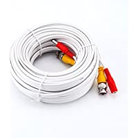 New Hosecurity 60ft CCTV RG59 BNC cable with Video and Power CCTV Security Cable for SDI HD AHD DVR camera installation (RG 59 HD Cable, 1X60ft) (White)