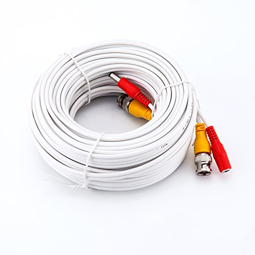 New Hosecurity 60ft CCTV RG59 BNC Cable with Video and Power CCTV Security Cable for SDI HD AHD DVR Camera Installation (RG 59 HD Cable, 1X60ft) (White) ()