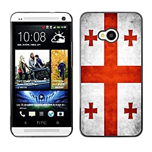 Shell-Star ( National Flag Series-Georgia ) Snap On Hard Protective Case For HTC One (M7)