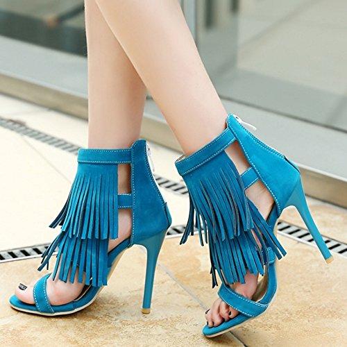 COOLCEPT Mujer Moda Punta Abierta Ankle-wrap Gladiator Sandalias Retro Tacon Alto Zapatos with Borlas Azul