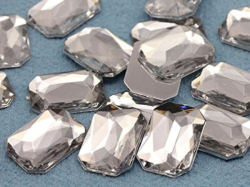 Octagon Jewels (18x13mm Crystal Clear H102 Flat Back Octagon Acrylic Gemstones High Quality Pro Grade - 30 Pieces)