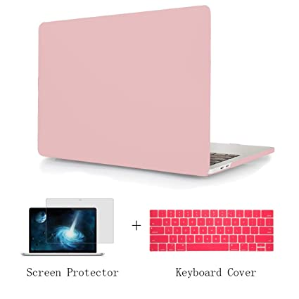 TwoL Case for MacBook Air 13 A1932, Hard Shell Case Keyboard Cover Screen Protector for New MacBook Air 13 inch 2018 Release Model:A1932 Baby Pink