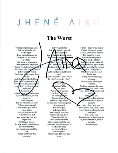 Jhene Aiko Signed Autographed WHILE WE'RE YOUNG Song Lyric Sheet COA