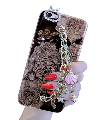 (For iPhone7 Plus / iPhone8 Plus Case, Omio Shiny Seashell Pendant Tassel Hand Chain Holder Bracelet Cover Rose Flower Floral Star Pearl Love Bling Crystal Shell For Apple iPhone 7 Plus / iPhone 8 Plus)