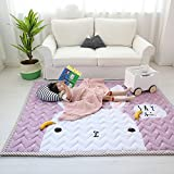 BHoming(TM) Large Cotton Baby Kids Toddler Play Crawl Mat/Rugs, Cotton Area Rugs for infants 4.6x6.5 Feet, Rabbit