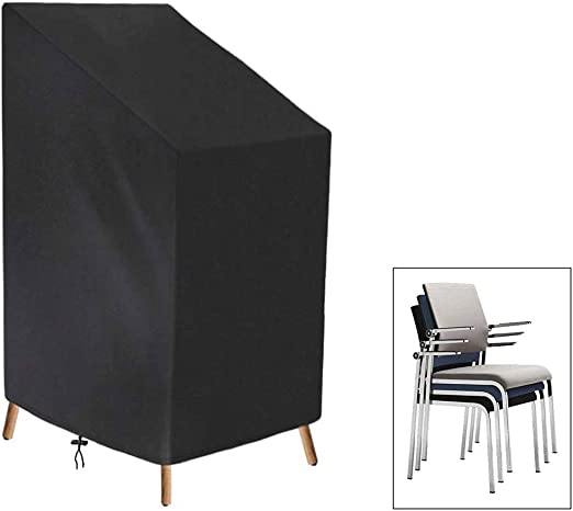 Exterior Mueble Apilado Fundas de la Silla Jardín Impermeable Patio Sillas for Exterior Funda, Respirable Tela Oxford Reclinable Fundas for Muebles de Jardin, Negro: Amazon.es: Hogar