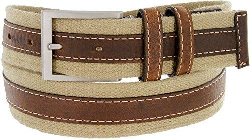 Hagora Men's Real Brown Leather Beige Cotton White Stitches 1-1/2' Buckle Belt