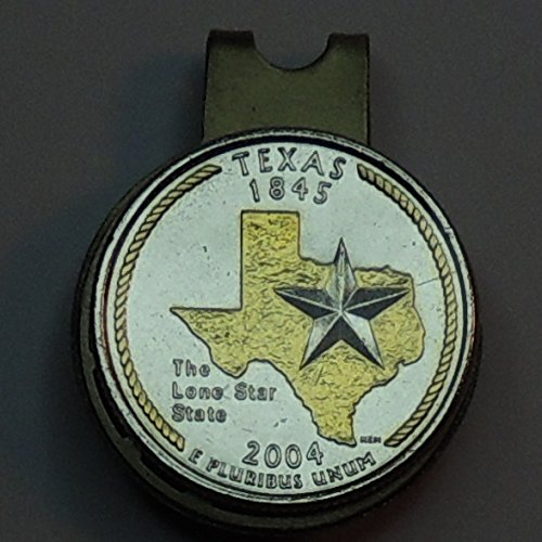 - Texas U.S. Statehood quarter - 2-Toned (Uniquely Hand done) Gold on Silver coin - Golf Ball Marker - Hat clips magnetic for men - women - boys - accessories