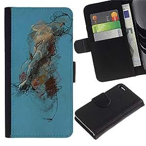 LASTONE PHONE CASE / Lujo Billetera de Cuero Caso del tirón Titular de la tarjeta Flip Carcasa Funda para Apple Iphone 4 / 4S / Body Painting Watercolor Art