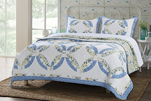 Greenland Home 3 Piece Forever Quilt Set, - Wedding Quilt Double Ring