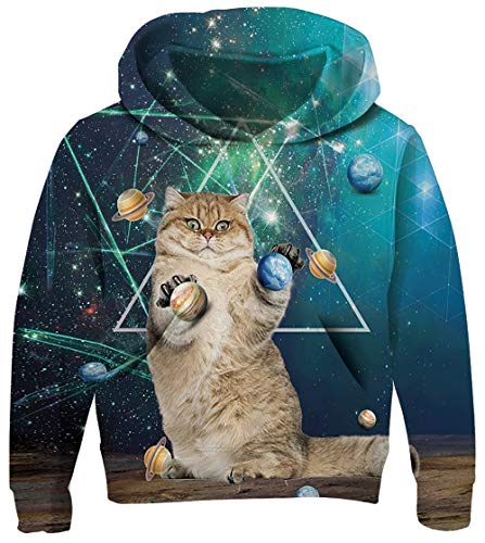 UNICOMIDEA Unisex Kid's Hoodies Funny Printed Witty Cat Graphic Sweatshirt Hoodies Winter Outerwear with Kangaroo Pocket Size S]()