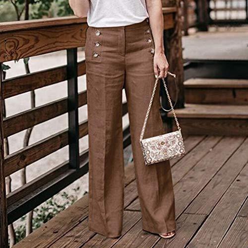 A Pantaloni Colori Casuale Ufficio Chiaro Dritta Marrone Moda Elegante Tinta Leggings Ol Gamba S 4xl Cinque Larga Unita Donna Larghi 0Zxwnpf1qE
