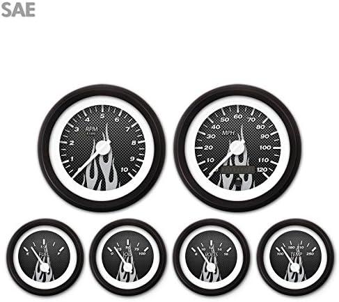 White Modern Needles, Black Trim Rings, Style Kit DIY Install Aurora Instruments 3620 Carbon Fiber Gray Flame SAE 6-Gauge Set