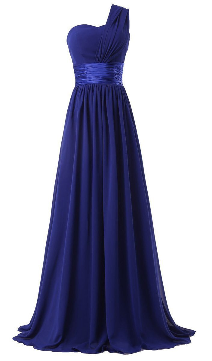 Lily's Dress Women's Chiffon One Shoulder Bridesmaids Dresses Long Prom Dress Royal Blue L