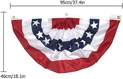 EE. UU. Jardín Asta de Bandera Bandera de Abanico Plisada Banderas de decoración de empavesado Americano Bordados Patrióticos Estrellas y Rayas Cosidas Encabezado de Lona y Ojales de latón: Amazon.es: Hogar