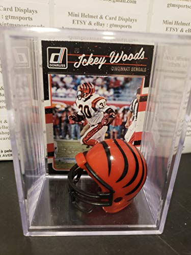 Ickey Woods Cincinnati Bengals Mini Helmet Card Display Collectible Auto Shadowbox Autograph Shuffle
