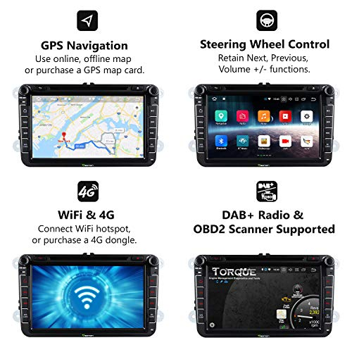 Double 2 Din Car Stereo,Eonon Dual Bluetooth Android 8.0 Car Head Unit, Applicable to Volkswagen/SEAT/Skoda 4GB RAM+32GB ROM Octa-Core 8 Inch with Bluetooth Split Screen,Fastboot-GA9153A by Eonon (Image #3)
