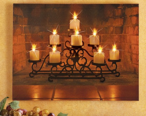 (Led Lighted Candelabra Fireplace Pillar Candles Christmas Wall Canvas Hanging Artwork Holiday Home Accent Decor)