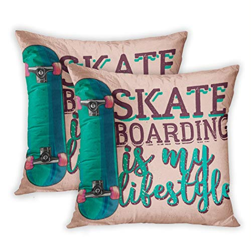 Suike Set of 2 Throw Pillow Covers Skateboard Skateboarding is My Lifestyle Design Skate Board Skater Vintage Polyester Soft Cozy Square Decorative Pillowcases for Sofa Bedroom 20x20 Inches