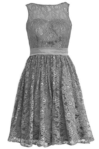 MACloth Women Straps Lace Short Bridesmaid Dress Cocktail Party Formal Gown (26w, Gray)
