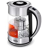 CISNO 2 in 1 Electric Kettle With Tea Infuser - Temperature Control Glass Kettle Stainless Steel, Cordless, 1500W 1.7L (BPA-Free) - Teapot for Loose Leaf Tea, Blooming Tea, Coffee