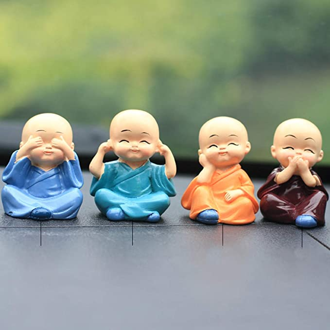 FairOnly 4Pcs//Set Cute Small Cartoon Monks Shape Refused to Pose Decoration for Car Crafts